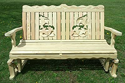 4 Ft Pressure Treated Pine Designs Unfinished Apple Cutout Outdoor Glider Bench