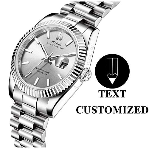 BUREI Men Automatic Watch Personalized Text Customization Wrist Watch Sapphire Lens and Stainless Steel Band Especial High-Grade Gift (Silver)