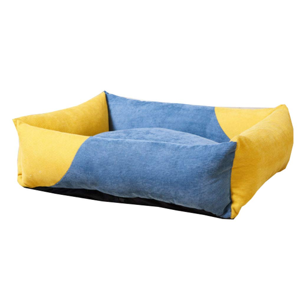 bluee+Yellow S 503018cm bluee+Yellow S 503018cm C_-1X Kennel, Winter, Warmth, Cattery, Pet Litter, Washable, Cat Litter, Dog Mat, Small Dog, Indoor, Dog Bed, Pet Supplies,(bluee+Yellow) (color   bluee+Yellow, Size   S 50  30  18cm)