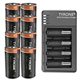 RCR123A Rechargeable Batteries Compatible Arlo Wireless Cameras, Tyrone 8 Pack 3.7V CR123A Batteries with Charger