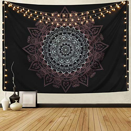 Sevenstars Mandala Tapestry Hippie Bohemian Tapestry Wall Hanging Psychedelic Flower on Black Background Tapestry for Living Room Bedroom