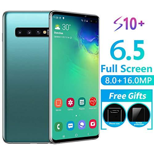 RUN.SE New 6.5-Inch S10 Full-Screen Smartphone Face/Fingerprint Unlock 6GB+128GB Dual SIM Cards HD Camera Bluetooth GPS Navigation Hi-fi Sound Quality Mobile Phones (Unlock Phone Sim)