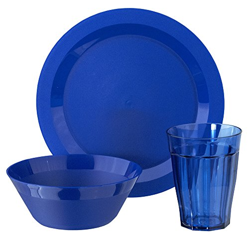 Cambridge Plastic Plate, Bowl and Tumbler Dinnerware | 12-piece set Blue (Used Sets Dinnerware)