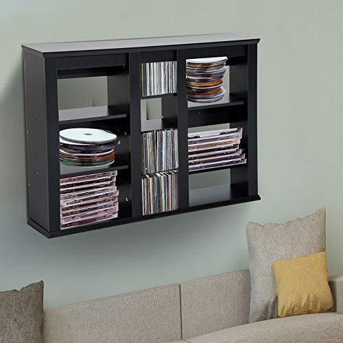 Tovendor Wall Mount Media Storage Rack CD DVD Organization Cabinet Multimedia Display Holder - Black