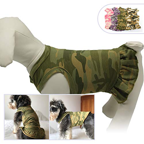 Lovelonglong Pet Clothing Small Dog Clothes Camouflage Sport Dress T-Shirts Tee Dresses Tanks Top for Small Size Female Dogs Summer Spring Pet Costumes 100% Cotton (XS, Green)