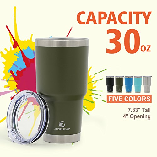 ALPHA CAMP 30 OZ Stainless Steel Vacuum Insulated Tumbler with Lid Powder Coated, Sage Green
