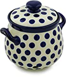 Polish Pottery Garlic and Onion Jar 9-inch made by Ceramika Artystyczna (Bold Blue Dots Theme)