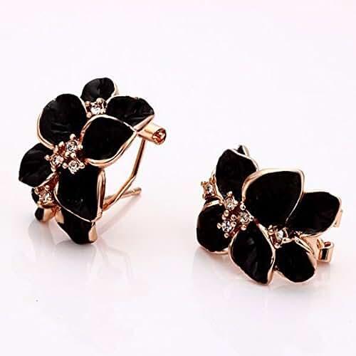 Chokushop ME981 Fashion Elegant 18K Rose Gold Plated Black Enamel Flower Clip Earrings