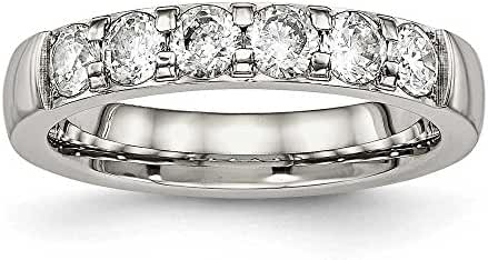 Stainless Steel Polished CZ 4 mm Band Ring - Sizes 5 - 10
