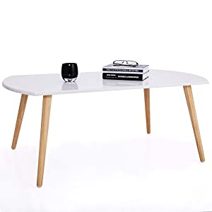 Starry Night Coffee and Sofa Table with Solid Wood Legs (White)