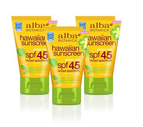 Alba Botanica Hawaiian, Green Tea Sunscreen SPF 45, 4 Ounce (Pack of 3)