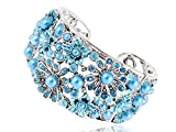 Alilang Aquamarine Turquoise Color Crystal Rhinestone Floral Flower Filigree Cuff Bangle Bracelet