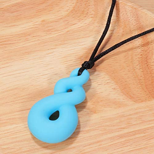 rosenice Chew Necklace 2pcs chewelry Necklace Soothing for Autism ADHD Oral Blue