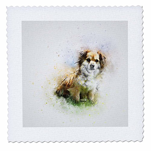 3dRose Sven Herkenrath Animal - Watercolor Dog Pet Puppy Funny Animal Portrait - 20x20 inch quilt square (qs_280282_8) by 3dRose