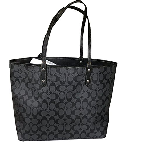Tote Reversible Black Coach Blue PVC Signature City F36609 wRaqXpH