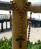 Super And Holy Big Mix Beads Sanctified Rosario Natural Catholic Wood Chain Jesus Cross XL Large 42'' Inches Wall Christian Rosary
