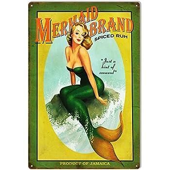 Nostalgic Mermaid Brand Spiced Rum Sign