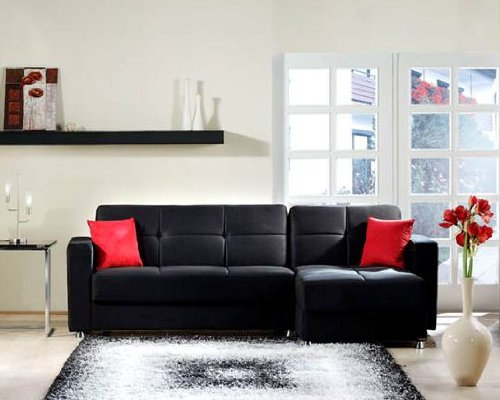 Elegant Rainbow Black Sectional Sofa by Sunset