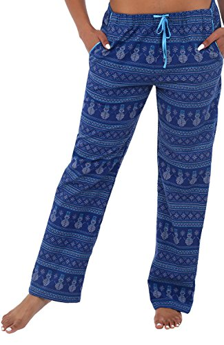 Alexander Del Rossa Womens Flannel Pajama Pants, Long Cotton Pj Bottoms, Medium Sweater Style Snowman (A0703Q79MD)