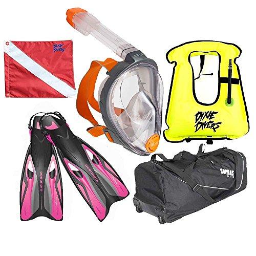 Ocean Reef Aria Snorkeling Set with Full Face Snorkel Mask Size L/XL Anti-Fog/Ocean Pro Escape Pink Fins Size M/L 9/11 Scuba Diving Flag 12