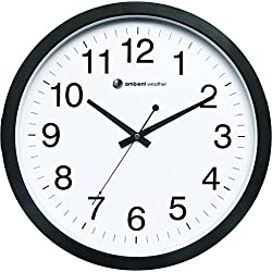 Ambient Weather Q-1400WB 14 Quiet Quartz Wall Clock with Sweeping Second Hand