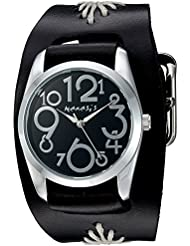 Nemesis Womens Showgirl Series Quartz Stainless Steel and Leather  Watch, Color:Black (Model: BF109K)