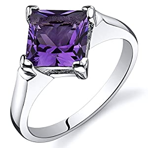 Peora Amethyst Engagement Ring in Sterling Silver, Classic Designer Solitaire, Princess Cut, 7mm, 1.50 Carats, Comfort…