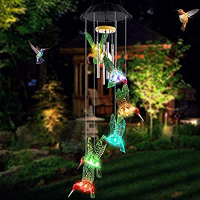 AceList Wind Chimes, LED Solar Powered Color Changing-Outdoor Hanging Decoration Colorful Light Up Patio, Porch, Deck, Garden Decor Gift ...