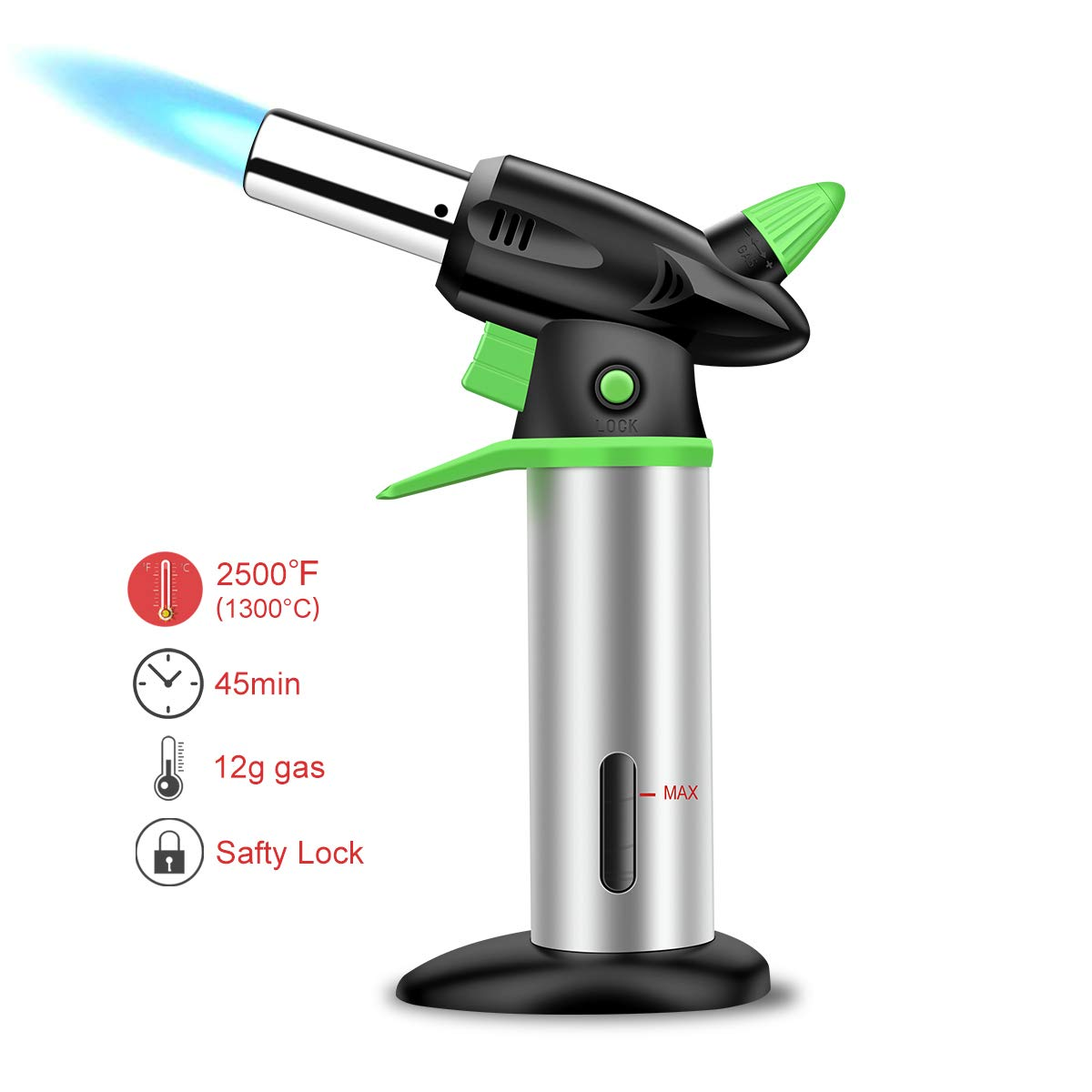 Himover Butane Torch, Culinary Chef Cooking Kitchen Blow Torch Refillable Flame Lighter with Safety Lock for Baking, DIY, Creme Brulee, BBQ and Soldering (Butane Fuel Not Included)