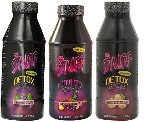 The Stuff Detox 3 Bottles Citrus Explosion 16 oz/Gushing Grape 16 oz/Fruit Punch 16 oz (Liquid Fruit Stuff Punch)