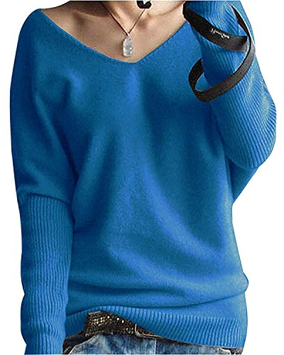 (FCYOSO Women's Big V-Neck Pullover Loose Sexy Batwing Sleeve Wool Cashmere Sweater Tops Large Lake Blue)