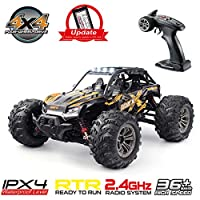 Hosim High Speed 24MPH 4WD 2.4Ghz Racing Car 9137, 1:16 Scale 4x4 Off-Road RC Trucks with Light Electronic Monster Truck Dune Buggy Hobby Toys for Kids & Adults (Orange)