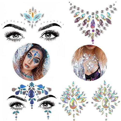 (COKOHAPPY 4 Sets Rhinestone Mermaid Face & Breast Jewels Tattoo - Body Stickers Crystal Tears Gem Stones Bindi Temporary Stickers)