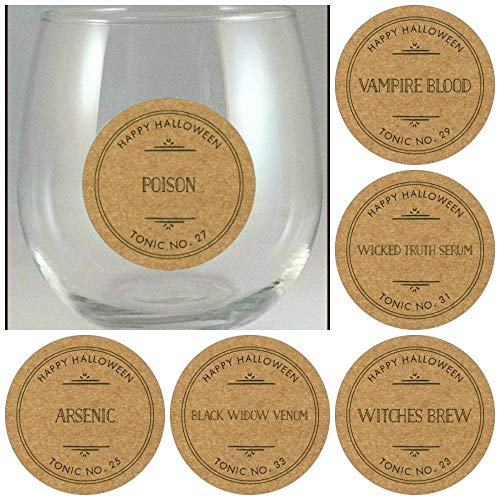 Halloween Wine Glass Decal Glass Identifier Tag Party Supplies- 6 Decals/pack ()