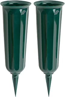 product image for Green Plastic Cemetery Vase, 2-Pack