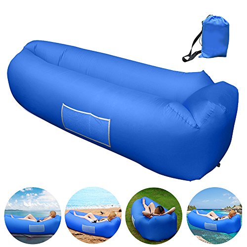 Inflatable Lounger, Inflatable Couch Hammock with Storage Pocket Waterproof& Anti-Air Leaking Air Lounger Portable Air Sofa Inflatable Chair for Indoor or Outdoor Use, Camping, Beach (Blue)