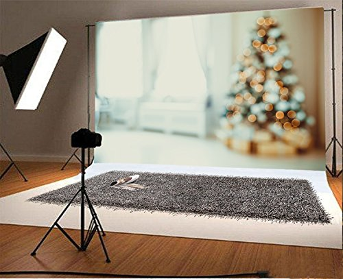 Laeacco 7x5FT Vinyl Backdrop Photography Background Christmas Tree Living Room Decoration Defocused Blurred Background Bokeh Effect Dream Halos Personal Portrait Holiday Party Photo (Seaside Dreams Poster)