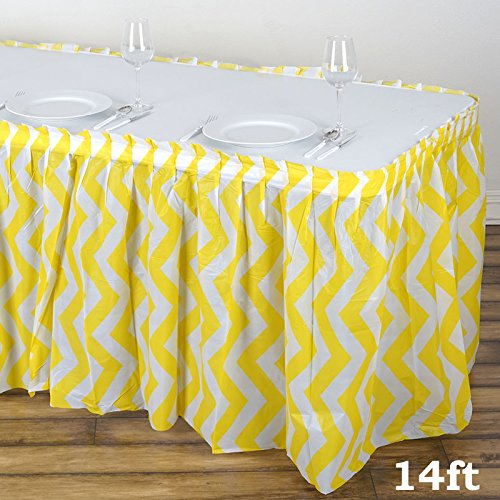 BalsaCircle 2 pcs 14 feet x 29-Inch Yellow Plastic Chevron Table Skirts Wedding Party Event Decorations Catering Wholesale
