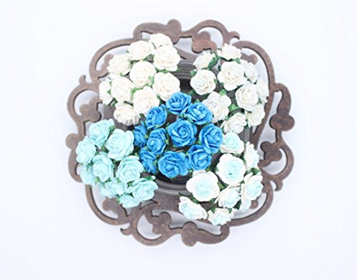 100 Pcs Mini Rose Mix Sweet Soft Blue Shade 10 mm Mulberry Paper Flowers Scrapbooking Wedding Decoration
