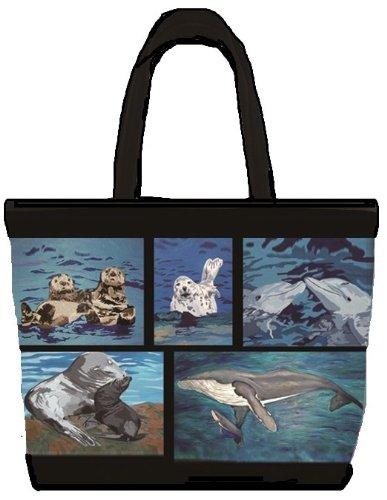 Ocean Animals Patchwork Shoulder Bag, Vegan Tote Bag - An...