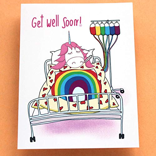 Funny Get Well Card with Unicorn - Get Well Soon! - Happy Little Things - Folded Greeting Card with Envelope, Blank Inside