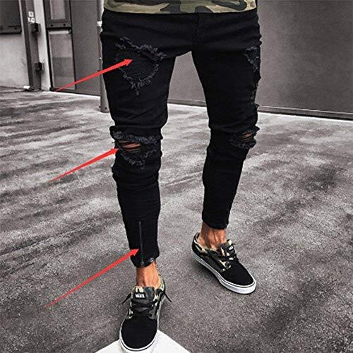 Elasticizzati Zip Denim Strappati Con Uomo Comodo Nero Slim Fori Battercake Jeans Di nero Biker Rt Fit Da Pantaloni BAwfAqpU