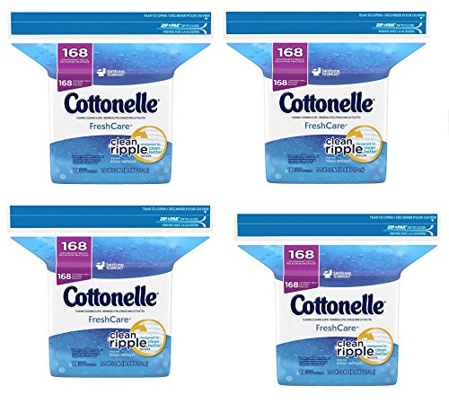 Cottonelle Fresh Care Flushable Moist Wipes Refill NCvXBy, 168 count, (4 Packs)