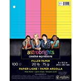 Neenah Astrobrights Wide Ruled Filler Paper Assortment, 20 lb., 8.5 x 10.5 Inches, 100 Sheets