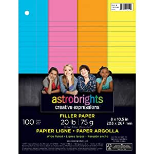 """Astrobrights Color Paper, Wide Ruled Filler Paper, 3-Hole Punched, 8"""" x 10.5"""", 4-Color Assortment, 100 Sheets"""