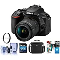Nikon D5600 DSLR Camera Kit with AF-P DX NIKKOR 18-55mm f/3.5-5.6G VR Lens, Black - Bundle With Camera Case, 16GB SDHC Card, 55mm UV Filter, Cleaning Kit, Software Package