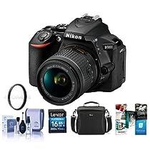 Nikon D5600 DSLR Camera Kit with AF-P DX NIKKOR 18-55mm f/3.5-5.6G VR Lens, Black - Bundle With Camera Case, 16GB SDHC Card, 55mm UV Filter, Cleaning Kit, Software Package
