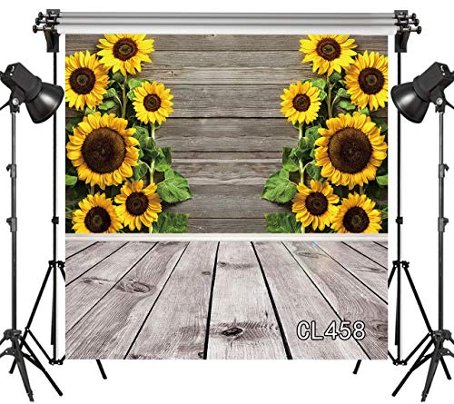 LB Rustic Wood Floor Backdrops 8x8ft Vinyl Blooming Sunflower on The Wood Backdrop for Newborn Baby Shower Party Kids Portraits YouTube Photo Video Studio Props