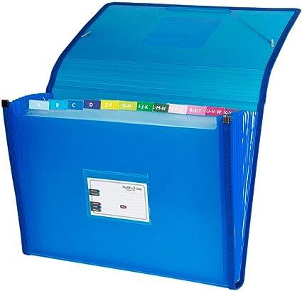 Grafoplás 02963030-Carpeta clasificadora con fuelle, tamaño folio, color azul: Amazon.es: Oficina y papelería