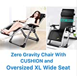 FOUR SEASONS WITH CUSHION OVERSIZED XL WIDE SEAT ( Seat width: 22.5'' ) Upgraded Zero Gravity Chair Lounge Recliner Folding Adjustable Portable Office With Beverage Tray Cup & Phone Holder